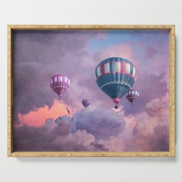 Blue, Pink, and Purple Hot Air Balloons on Pastel Clouds Serving Tray