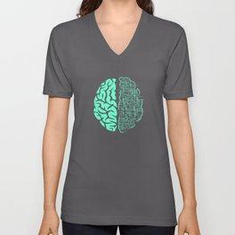 Electric Brain Art Composition Unisex V-Neck