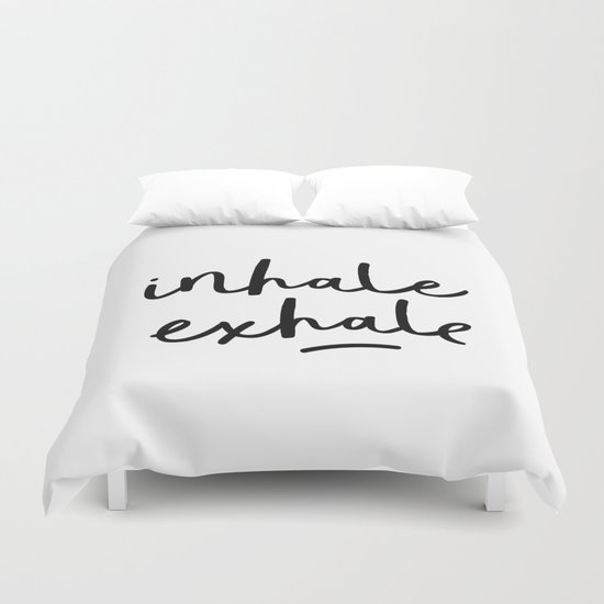 Inhale Exhale black and white contemporary minimalism typography print home wall decor bedroom by themotivatedtype