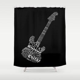 Typographic guitar Shower Curtain