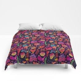 Watercolor birds and flowers Comforters