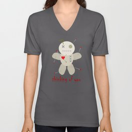 Thinking of You Voodoo Doll Goth Unisex V-Neck