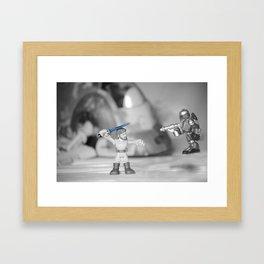 Obi-wan Kenobi & Jango Fett with the Slave 1 Framed Art Print