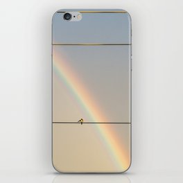 songbird preening under a rainbow (vertical iPhone Skin