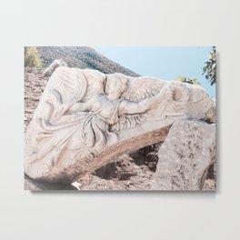European City Ruins | Ephesus Carved Statue Rock Muted Baby Blue Tan Colors Historical Wanderlust Metal Print