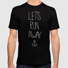 Let's Run Away | Sandy Beach, Hawaii LARGE Black Mens Fitted Tee