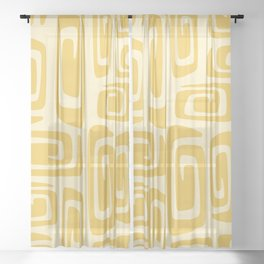 Mid Century Modern Cosmic Abstract 515 Yellow On Yellow Sheer Curtain