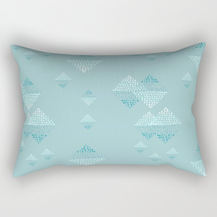 Ombré dazzling squared  dot small teal Rectangular Pillow