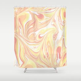 Golden Hour Marble Retro Print Shower Curtain
