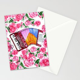 Accordion with pink roses Stationery Cards