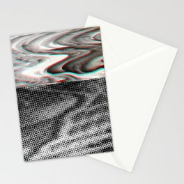 White Noise / Landscape / Gold Glitch #3 Stationery Cards