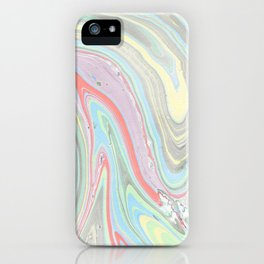 Pink coral mint green aqua watercolor abstract marble pattern iPhone Case