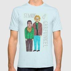 Simon & Garfunkel Mens Fitted Tee Light Blue LARGE