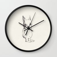 bulldog Wall Clocks featuring Bulldog by Poem Ball