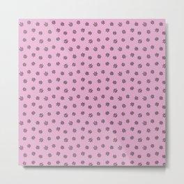 Pink Flower Doodles Metal Print