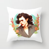 harry styles Throw Pillows featuring Harry Styles by chazstity