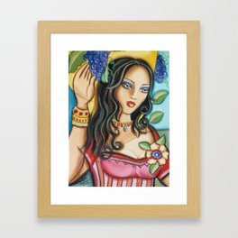 Woman with Grapes Framed Art Print