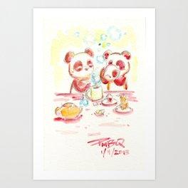 Tea Pandas Art Print