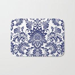 damask blue and white Bath Mat