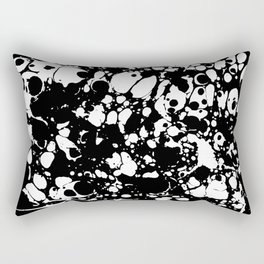 Black and white contrast ink spilled paint mess Rectangular Pillow