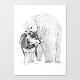 Eskimo dog and Polar bear pointillism illustration Canvas Print