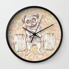 Pug Lift Camo Pink Wall Clock