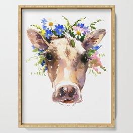 Cow Head, Floral Farm Animal Artwork farm house design, cattle Serving Tray