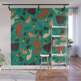 Turquoise Woodland Forest Animals and Pine Cones Repeat Pattern Wall Mural