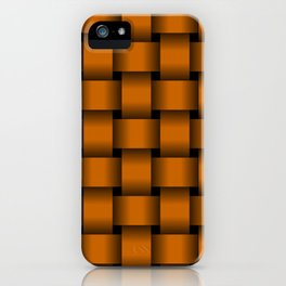 Large Dark Orange Weave iPhone Case