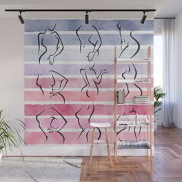 Minimalist linear intimate hygiene lady poses collection gradient watercolor stripes background Wall Mural
