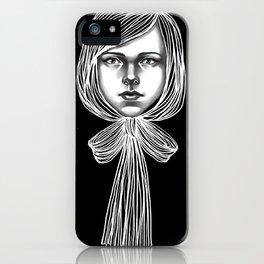 Negativ-Bow tie Girl iPhone Case
