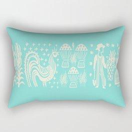 Turquoise Butterprint Cinderella Stack Rectangular Pillow