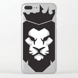 Black & White lion x Crown Clear iPhone Case