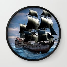 A beautiful sailboat in the open ocean Wall Clock