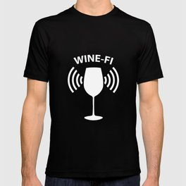 Wine-Fi Wine Drinking Party Glass Funny T-Shirt T-shirt