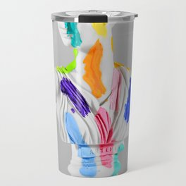 A Grecian Bust With Color Tests Travel Mug