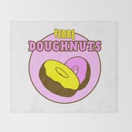 Vintage Yummy Doughnuts Retro Donuts Design Throw Blanket