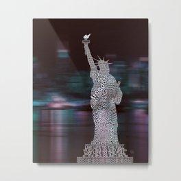 Typographic Statue of Liberty Metal Print