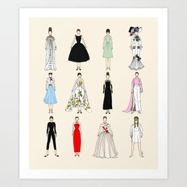 Audrey Fashion Vintage Retro in Cream Art Print