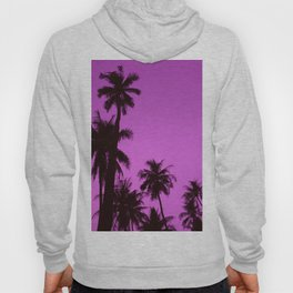 Tropical palm trees on blue pink Hoody