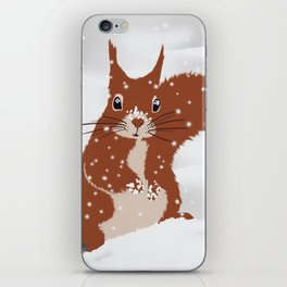 Red squirrel in the winter snow with white snowflakes cute home decor nursery drawing iPhone Skin