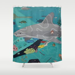 Aquarium (Shark Painting) Shower Curtain