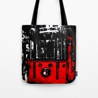 subway Tote Bags featuring subway by gizem sevinç