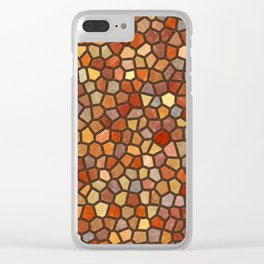 Fall Colors Mosaic Pattern - dark Clear iPhone Case