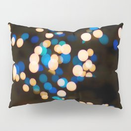 Blue Orange Yellow Bokeh Blurred Lights Shimmer Shiny Dots Spots Circles Out Of Focus Pillow Sham