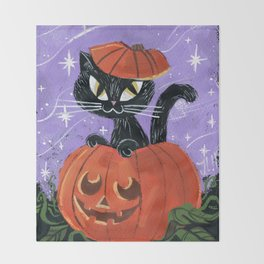 Halloween Black Kitten Cat Pumpkin Throw Blanket
