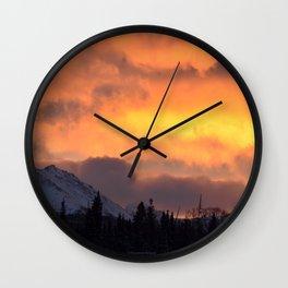 Sunrise Behind Chugach Mts ~ II Wall Clock