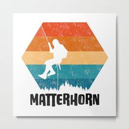 Climbing Gift Tee Climber TShirt Bouldering Shirt Matterhorn Rock Climbing TShirt  Metal Print
