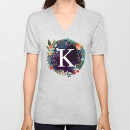 Personalized Monogram Initial Letter K Floral Wreath Artwork Unisex V-Neck
