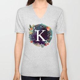 Personalized Monogram Initial Letter K Floral Wreath Artwork Unisex V-Neck